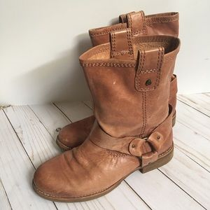 Gianni Bini Leather Camel Moto Boot